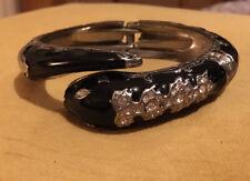 River Island Black Snake Pulsera de Plata Diamante detalle