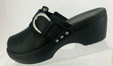 Crocs Cobbler Mules Buckle Black Leather Round Split Toe Studded Clogs Womens 8