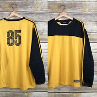 Vtg Tommy Hilfiger Mens Black Yellow Rugby Padded Arms Long Sleeve Shirt XL 85