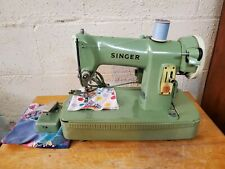 Vintage Mint Green Singer 185K Sewing Machine in Case & Foot Pedal