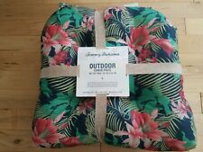 """TOMMY BAHAMA OUTDOOR CHAIR PADS CUSHIONS SET OF 2 20x20"""" Water Resistant FLORAL"""