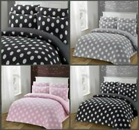 NEW DESIGN POLKA -DOTS TEDDY FLEECE SHERPA  DUVET COVER SET BEDDING SET ALL SIZE