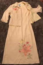 Dress And Jacket Size 14,2 Piece Linen Dress Plaza South,embroidered Yellow