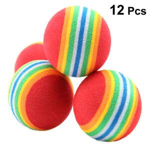 12pcs Rainbow Ball Pet Chew Toys EVA Soft Interactive Dog Cat Play Snack Balls