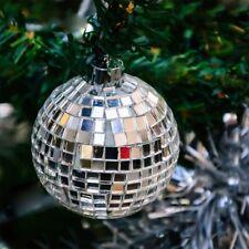 6Pcs 5.1cm Silber Spiegel Kugel Disco Wandbehang Verzierungen Weihnachten Party
