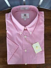 New Viyella Light Pink Check Short Sleeve Cotton Blend Shirt, Large, $85
