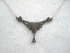 Stunning Art Deco Sterling Silver & Marcasite Drop Necklace
