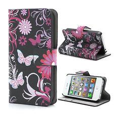 Brief Tasche Schutz Hülle Flip Case Cover Iphone 4 4S Schmetterling Schwarz PINK