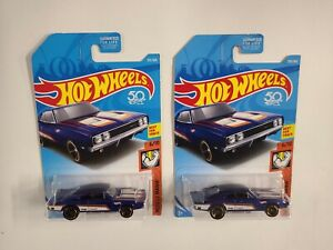 # 887  lot of (2) 2017 Hot Wheels  '69 dodge Charger 500  ships/box/bubble