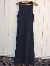 100% SILK black slip dress long bias cut minimalist elegant witch goth gown 42