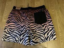 Hollister Mens Animal Print Black Brown Swim Shorts Size M