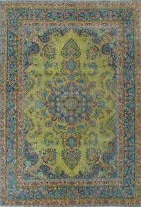 Vintage Overdyed Floral Tebriz Evenly Low Pile Hand-knotted Area Rug 8x10 Carpet