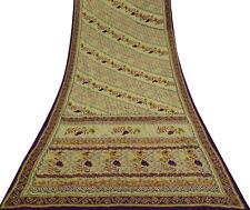 Vintage Saree Crepe Silk Olive Kantha Stitch Embroide Craft Fabric CRP4024
