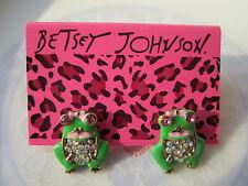 2017 Delicate Betsey Johnson Fashion Cute Retro Crystal Green Frog Earrings