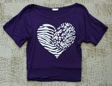 Zenana Outfitters Shirt size medium M - purple/silver/white/heart/animal print