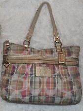 Coach Daisy Signature Madras Multi Rainbow Plaid  Shoulder Tote Bag F21956
