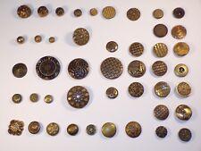 Lot of Antique Victorian Brass Metal Buttons Patterns Clock / Watch