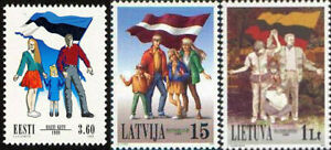 Stamp SET of ESTONIA LATVIA LITHUANIA 1999 - 10 years Baltic Chain (3 stamps)