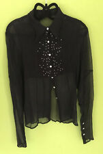 Day Birger et Mikkelsen Silk Black Blouse Size 8 See Through Evening Wear