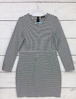 Womens Kate Spade Saturday Black White Striped Long Sleeve Sheath Dress Size 14