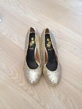 Ladies Gold High Heeled Shoes Size 7