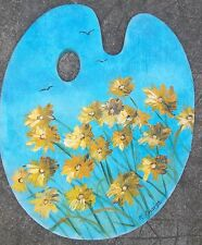 Tableau peinture huile panneau sur palette peintre fleurs oranges/bleu M.Gravier