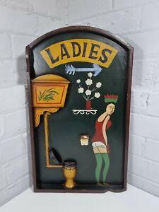 VINATGE 3D WOODEN PUB LADIES TOILET SIGN PICTURE - BAR HOME MAN CAVE