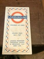 1947 No. 1 Railway Map Harry Beck London Transport Underground Tube Diagram Line