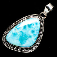 "Larimar 925 Sterling Silver Pendant 1 7/8"" Ana Co Jewelry P722168F"