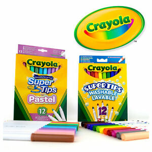 Crayola 24 Supertips Felt Tips - 12 Pastel and 12 Superbright Colouring Markers
