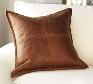Genuine Soft Real Lambskin Leather Throw Pillow Cushion Cover Handmade 16x16""