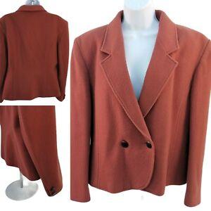 Simone Vintage blazer 80s 90s size 12 Pure Wool short boxy Orange Jacket smart