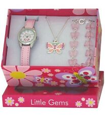 CHILDS BUTTERFLY 🦋 WATCH & JEWELLERY CHARM BRACELET NECKLACE GIFT SET BOXED GT