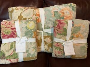 Pottery Barn Carolina Floral Patchwork Reversible Full Queen Quilt Euro Sham NEW