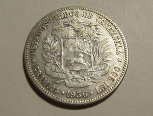 Venezuela 1936 5 Bolivares Silver Coin
