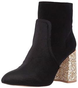 Betsey Johnson Kacey Black Velvet/Gold Glitter Heel Pointed Toe Ankle Boot, 8.5M
