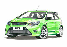 Ford Focus RS Mk2 Greeting Card A5 size