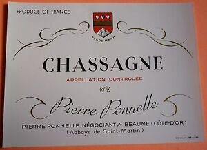 ETIQUETTE CHASSAGNE (P. PONNELLE) NEUVE