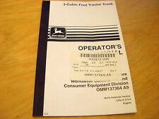 John Deere 3-Cubic Foot Tractor Trunk Operator's Manual