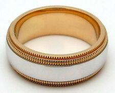 WOMENS 14K TWO-TONE GOLD DOUBLE MILGRAIN WEDDING BAND
