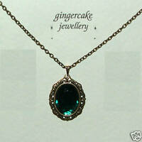 VICTORIAN STYLE DARK GOLD PLATED GREEN CRYSTAL oval PENDANT