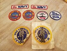 Vintage Lot of Eight (8) US Navy Iron On Patches Guantanamo Bay USS Lexington