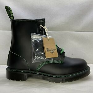 Dr Martens 1460 Contrast Stitch Smooth Leather Boots Black / Green Men's Size 11