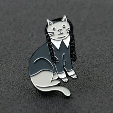 Wednesday Addams Cartoon Cat Enamel Brooch Badge Punk Goth Lapel Bag Pins Gift