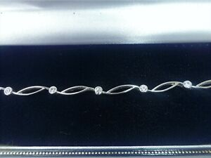 """9ct White Gold Bracelet, 7 1/2"""", 6g"""