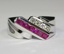 Men's 14k White Gold Princess Cut Red Ruby And White Diamond Ring Size 9.25