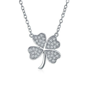 Shamrock Pave CZ Lucky Charm Four Leaf Clover Pendant Necklace For Teen For