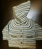 UNISEX INFANT GYMBOREE BABY STRIPED HOODED CARDIGAN GREEN SIZE 3-6 MONTHS NWT