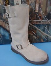 Womens Ladies Girls Dr Martens Case Cream Suede Engineer Boots  UK 7 EU 41 US 9