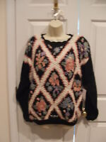 NWT  blaqck floral crochet SWEATER  small  runs large 10-12